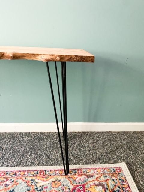hairpin legs on wood slab