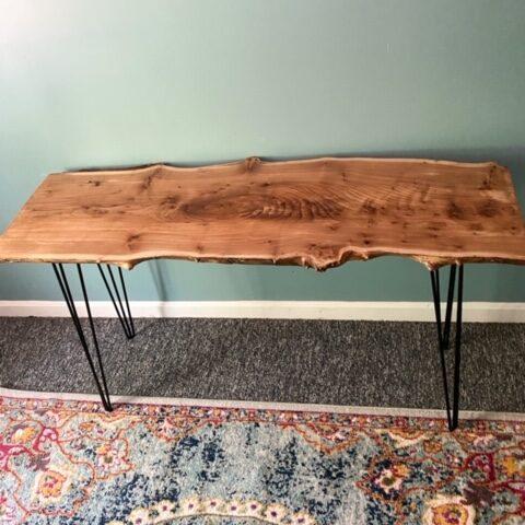 live edge wood slab desk