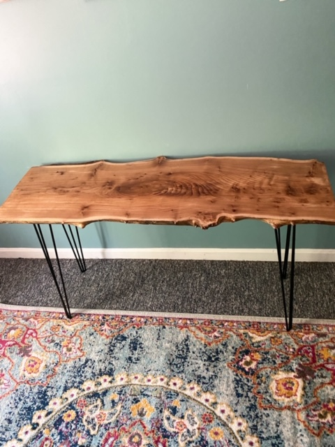 center view live edge wood slab desk with hairpin legs