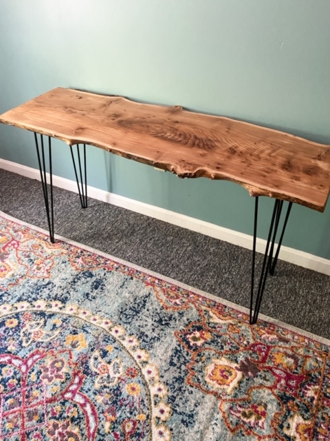 completed live edge wood slab desk with hairpin legs