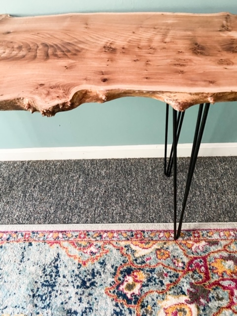 wood slab desk