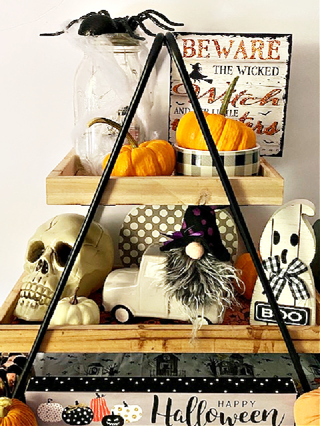 close up of tiered tray decorated for Halloween