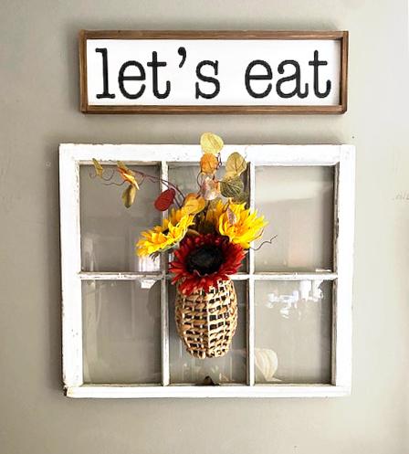 fall basket on kitchen window