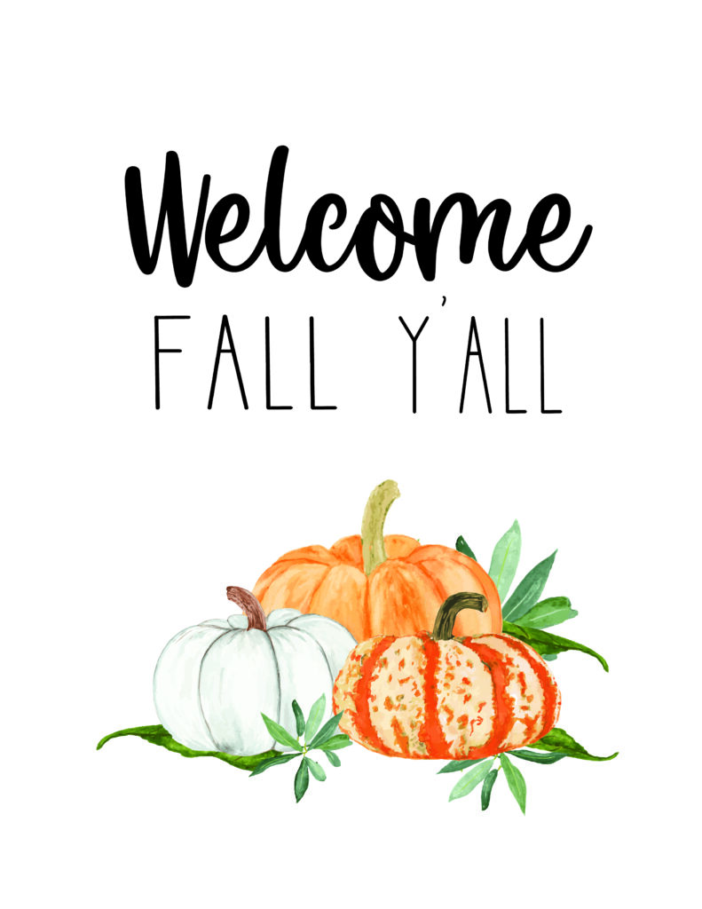 Welcome Fall Y'all free fall watercolor Printables