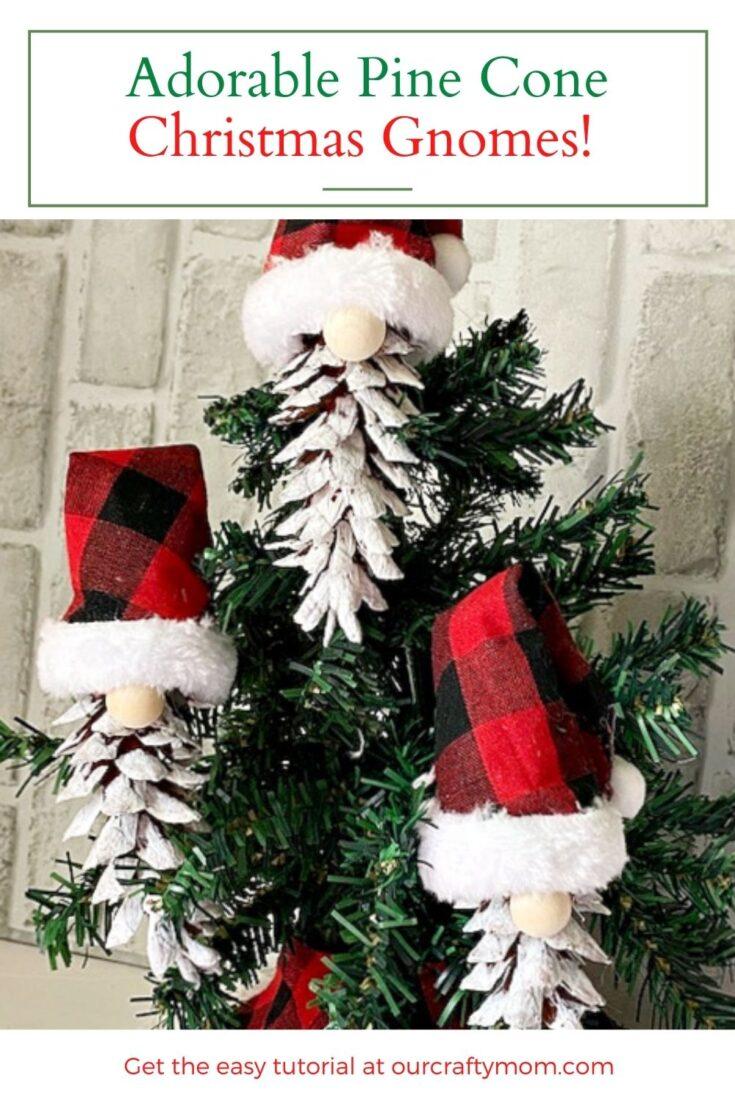 diy pine cone christmas gnomes on tree