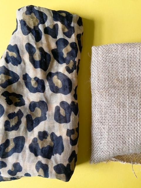 leopard and burlap fabric