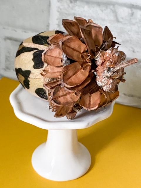close up of fabric acorn