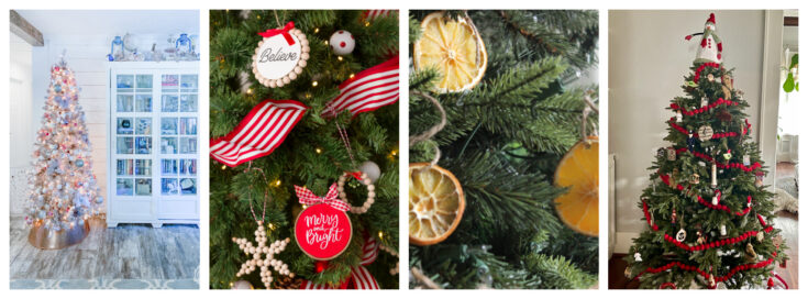 Christmas tree collage of four