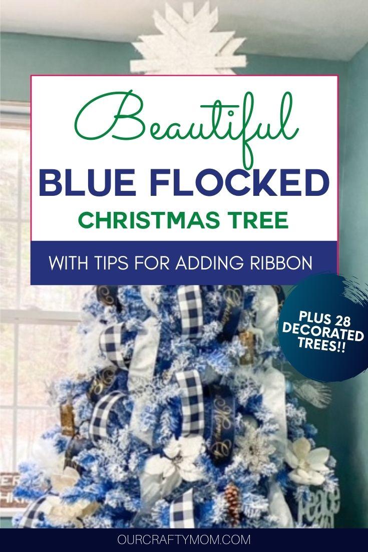 blue flocked Christmas tree