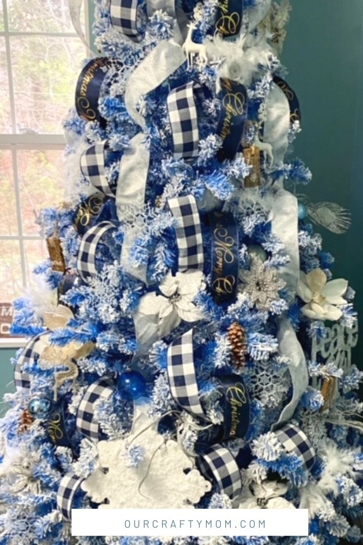How To Add Ribbon To Decorate A Beautiful Blue Flocked Christmas Tree