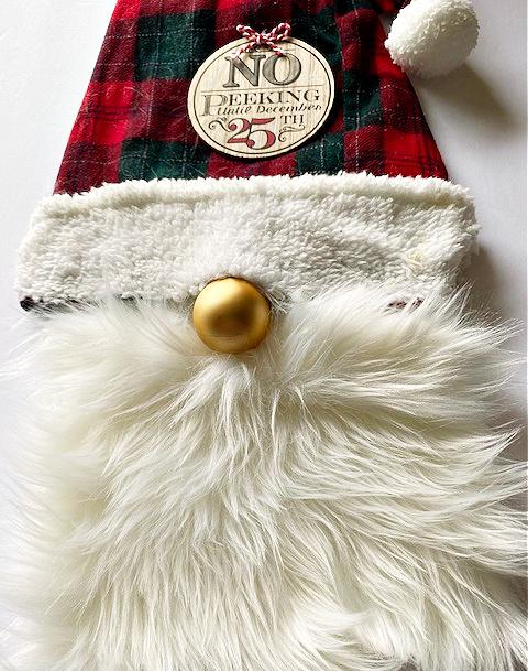 close up of Christmas gnome diy