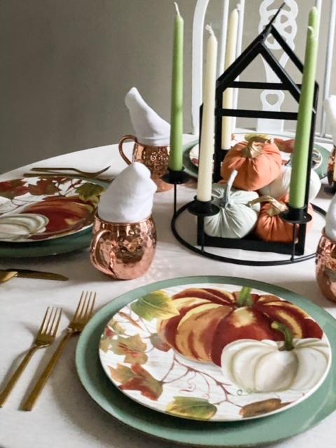 aqua and orange thanksgiving tablescape