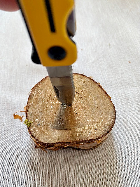 putting hole in wood slice