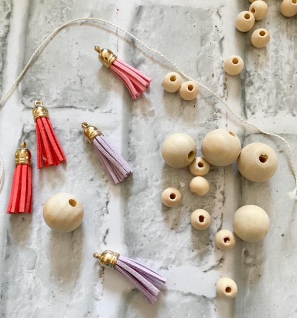wood bead ornament supplies