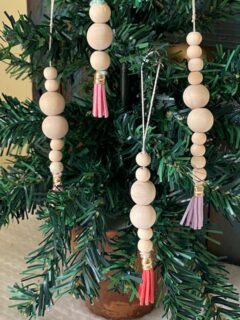 wooden bead ornaments on tree
