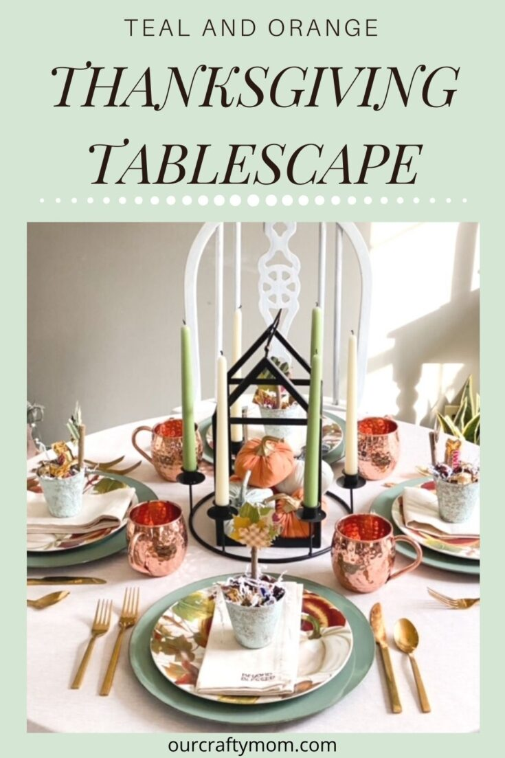 teal and orange Thanksgiving tablescape