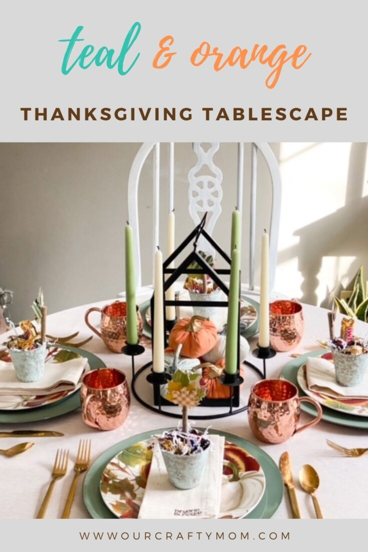 thanksgiving tablescape in teal and orange