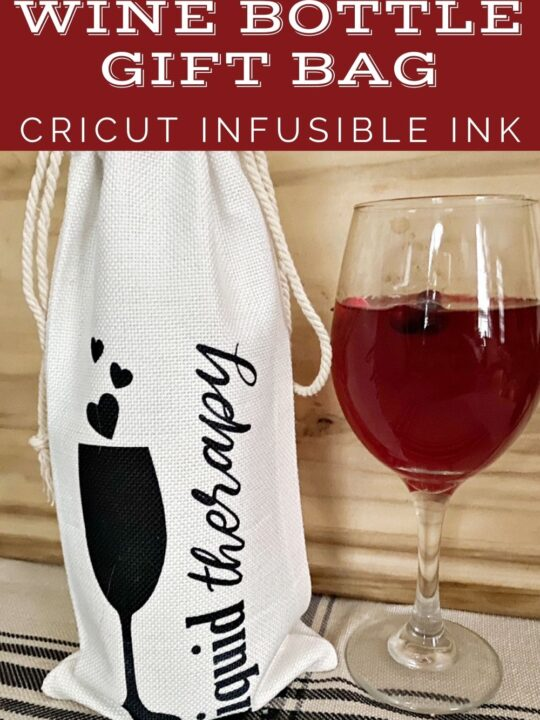 wine bottle gift bag diy cricut infusible ink