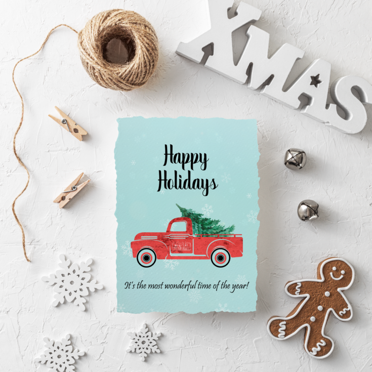 Happy Holidays Card Mock Up