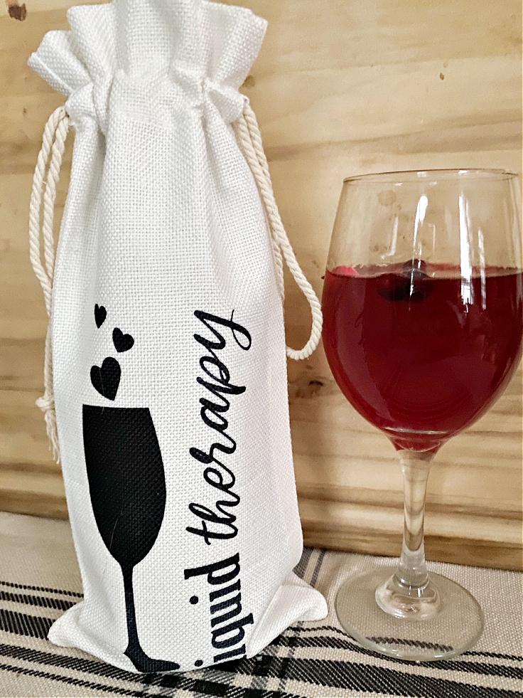 wine bag with wine glass