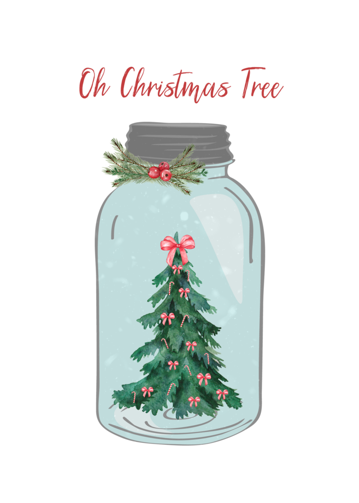 Mason Jar Oh Christmas Tree 5x 7 Printable