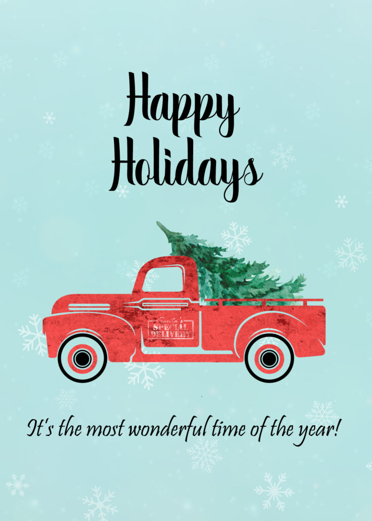 Vintage Red Truck 5x7 Happy Holidays printable