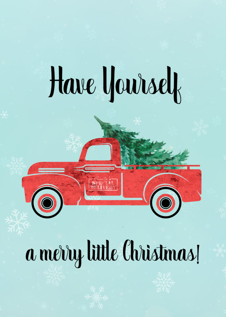 Vintage Red Truck 5x7 Merry Little Christmas Printable