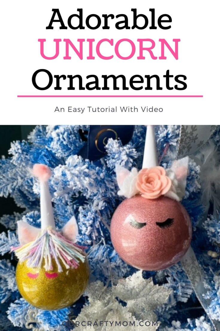 diy unicorn glitter cricut ornaments