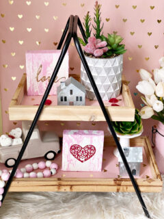 DIY Valentine's Day Tiered Tray With Scrap Wood Signs