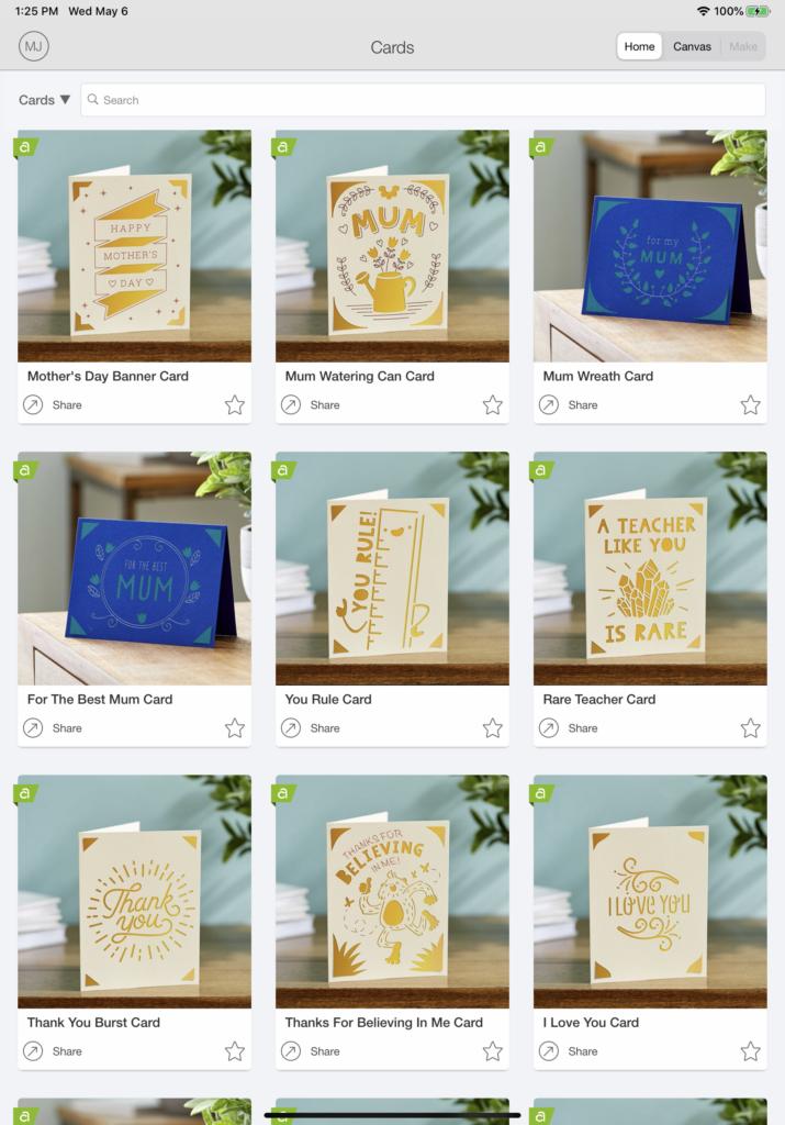 cards on cricut design space