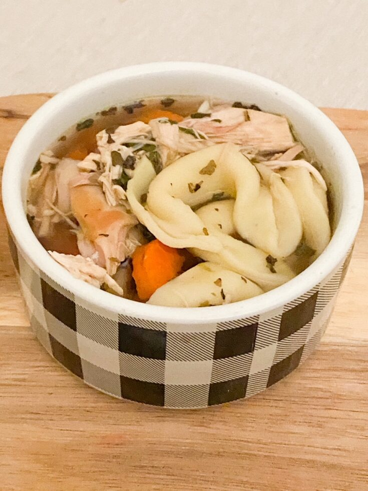 chicken tortellini soup in buffalo check bowl