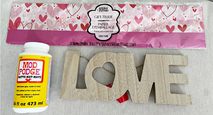 supplies needed for dollar tree love sign
