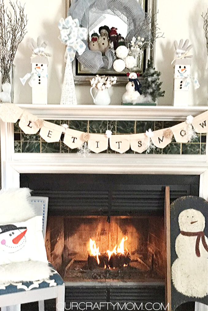 winter mantel with snowmen