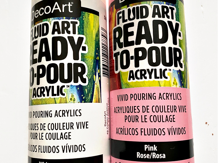 Ready To Pour DecoArt Acrylic Paint Pink And White
