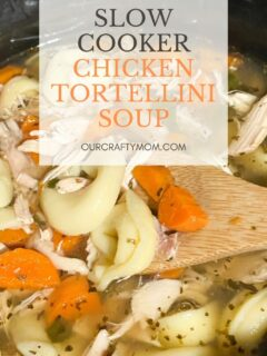 slow cooker chicken tortellini soup with rotisserie chicken