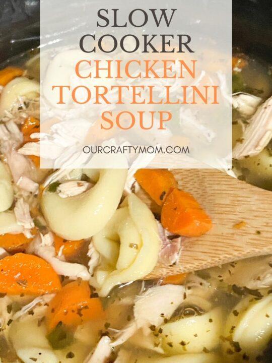 slow cooker chicken tortellini soup with rotisserie chicken