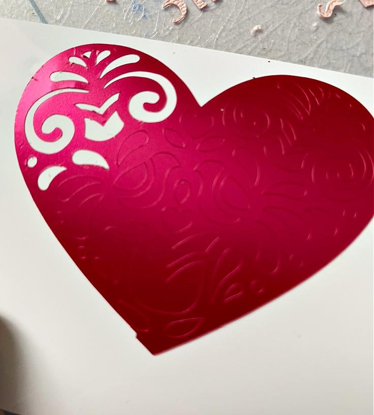 matte metallic red heart vinyl
