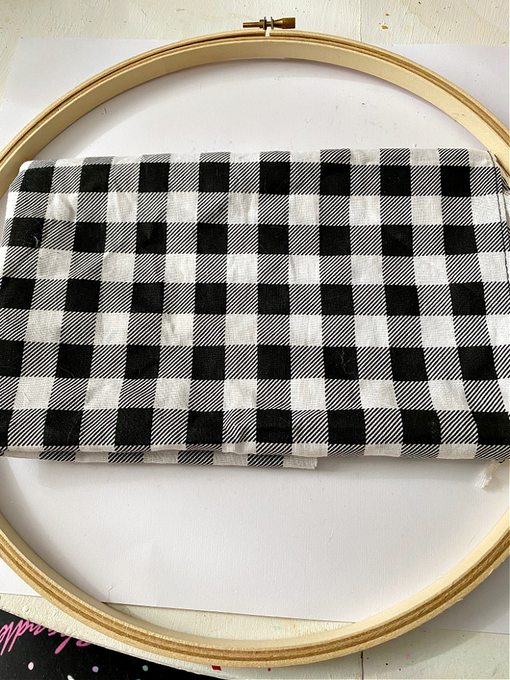 buffalo check fabric and embroidery hoop