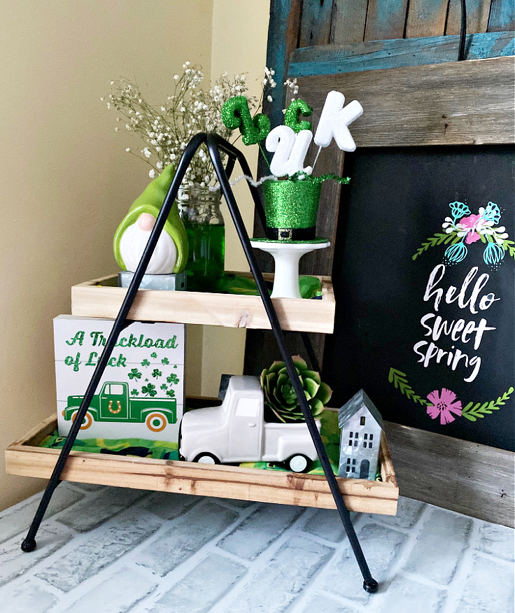 st. patrick's day tiered tray on table
