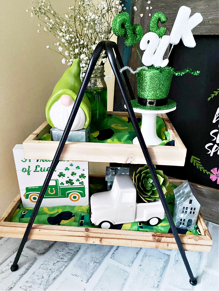 tiered tray decor for St. Patrick's day