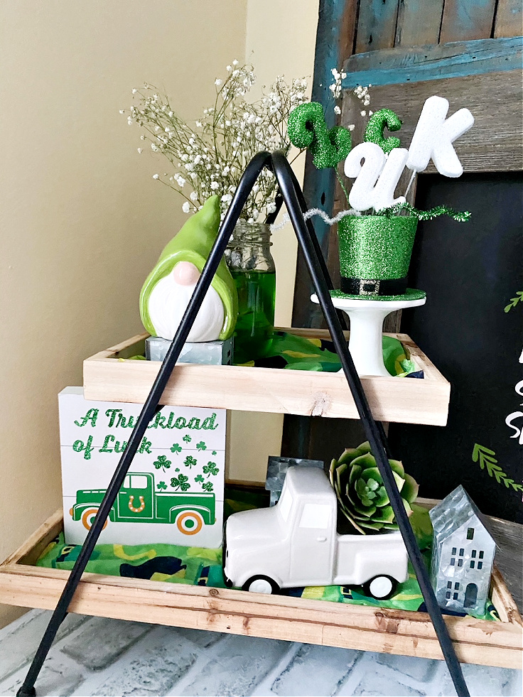 tiered tray with st. patrick's day decor