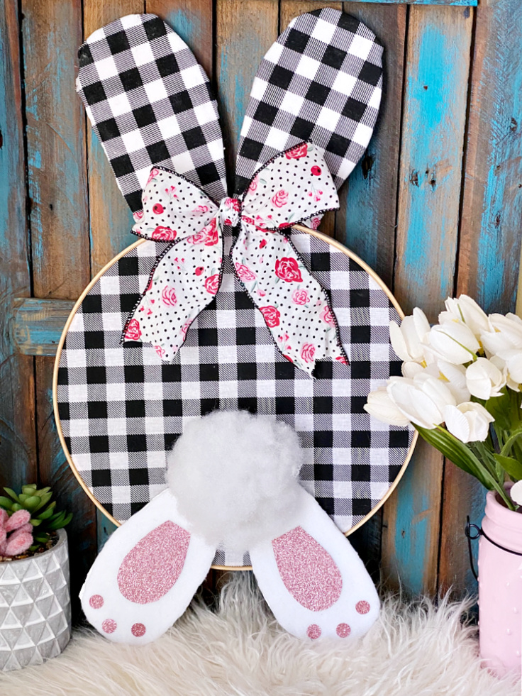 buffalo check bunny hoop wreath
