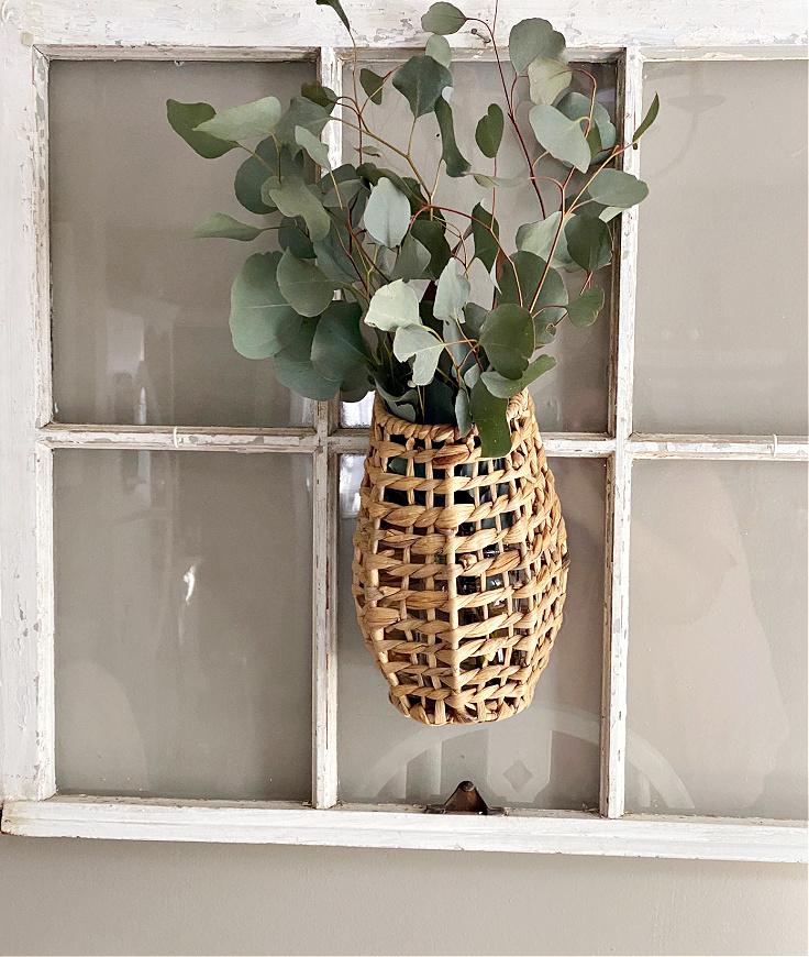 basket with fresh eucalyptus