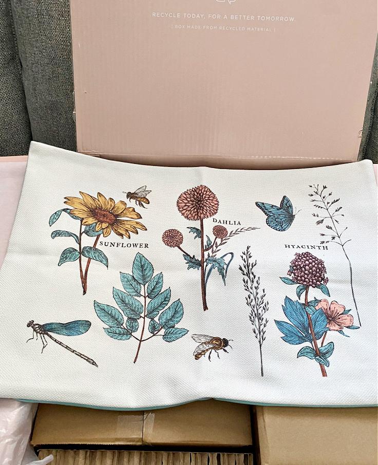 botanical pillow for spring