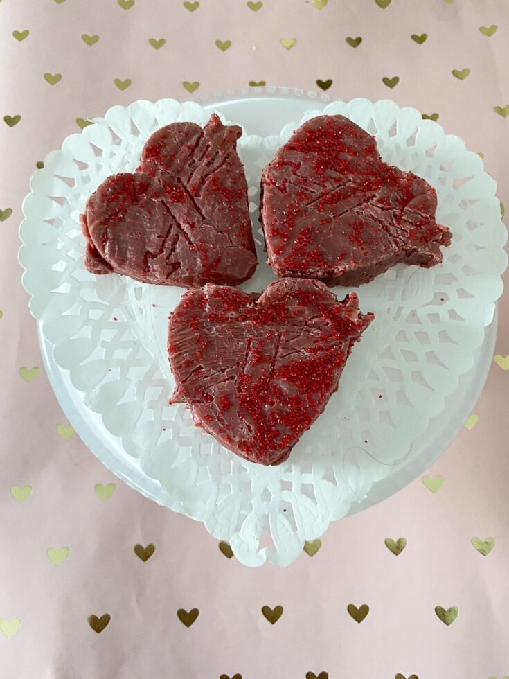 heart shaped red velvet fudge