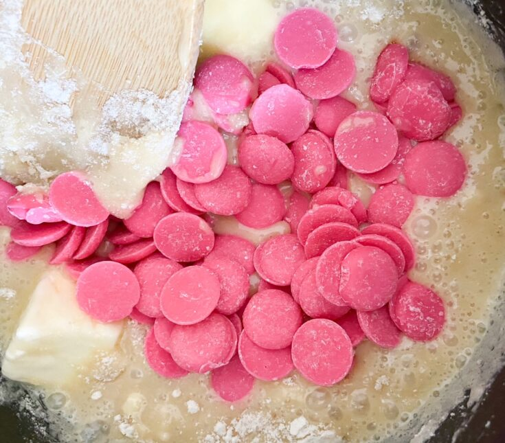 pink melts in cake batter mix