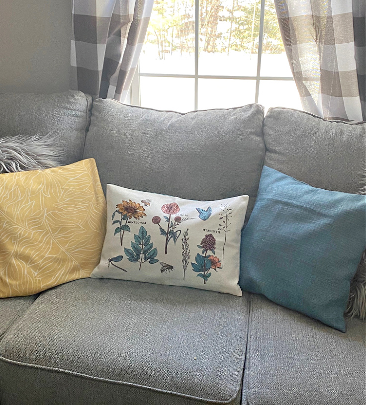 decocrated pillows on sofa