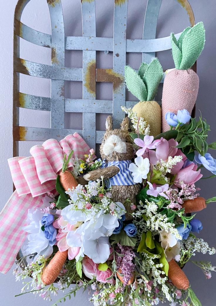 spring tobacco basket wreath on gray wall