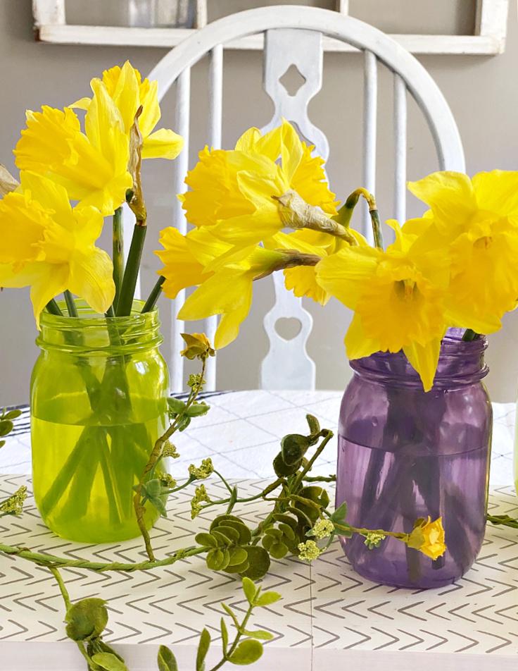 purple and yellow tinted mason jars
