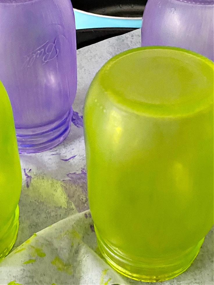 stained mason jars